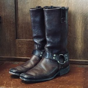 Brown Leather Harness Boots